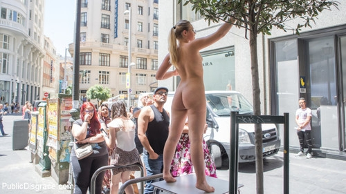 PUBLIC DISGRACE - Perky Blonde Selvaggia Fully Nude in Public Gets Anal Fisted & DP'd (2019/HD/2.48 GB)